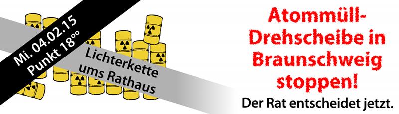 BISS-Aktion Lichterkette 2015 in BS 04.02.15-Button Atommüll-Drehscheibe
