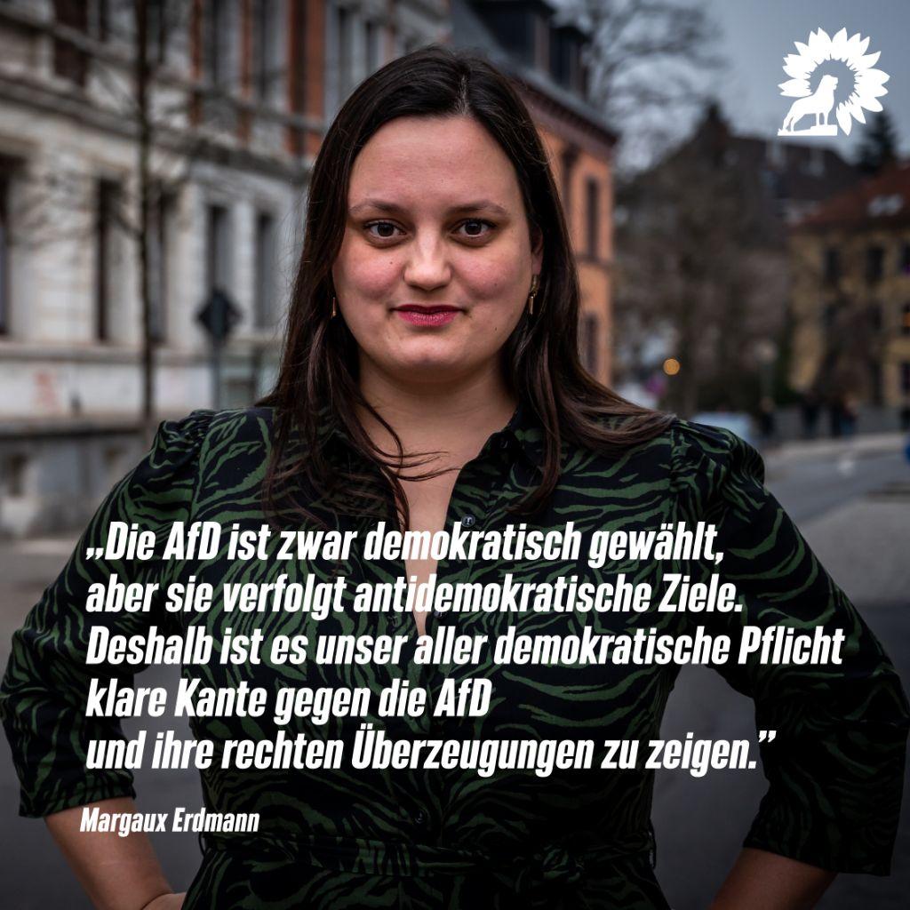 """Margaux anlässlich des AfD-Parteitags:""""… es unser aller demokratische Pflicht klare Kante gegen die AfD und ihre rechten Überzeugungen zu zeigen."""""""